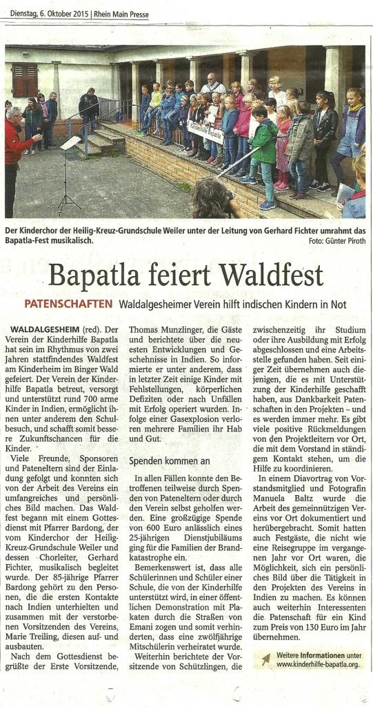 Zeitungsartikel-Waldfest